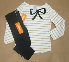 Gymboree City Kitty Glitter Gold Striped Bow Tee w/Leggings 4, 7 NWT