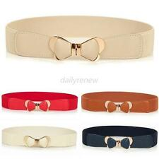 Metal Gold Bowknot Womens Ladies PU Leather Elastic Stretch Waist Belt Waistband