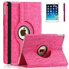 For Apple iPad Air 1 - 360 Rotating Premium PU Leather Smart Case Cute Hot Pink