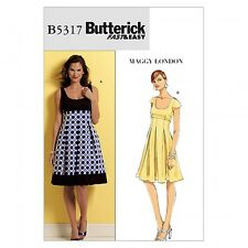 Butterick Ladies Easy Sewing Pattern 5317 Empire Line Flared Dresses (Butteri...
