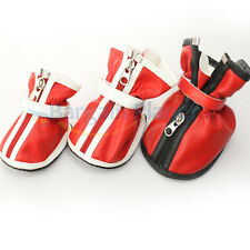 Pet Dog Antislip Waterproof Fashion PU Boots Zipper Puppy Cozy Rubber Soles