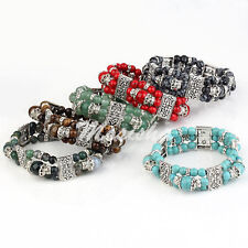Stretchy 3-Rows Gems Turquoise Agate Carved Flower Spacer Beads Bracelet Bangle