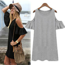 Women Off Shoulder Cut Out Ruffled Sleeve Long Blouse Solid Shirt Dress Clothing
