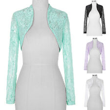 LADIES CROPPED LACE LONG SLEEVE SHRUG WOMENS BOLERO LACE CARDIGAN Cropped TOP