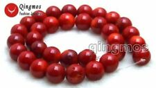 "SALE13-14mm round High quality Red natural Coral loose beads strand 15""-los640"