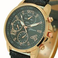 New Women's Stainless Steel PU Leather Bracelet Sport Analog Quartz Wrist Watch