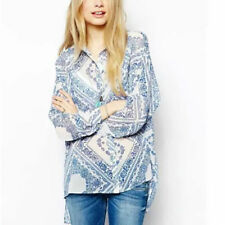New Womens Ladies Floral Print Long Sleeve Casual Lapel Shirt Blouse Tops