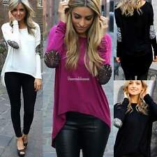 Hot Women Ladies Summer Long Sleeve Blouse Casual Crewneck Shirt Tops T Shirt