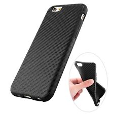 New Luxury Carbon Fiber Rubber Slim Back Case Cover For Apple iPhone 6 6S + Plus