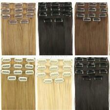 "24"" Women's Long Straight 5 Pieces Clip In On Full Head Hair Extension 7 Colors"