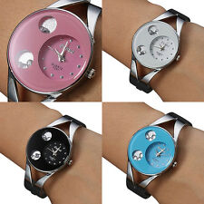 Womens Bracelet Stainless Steel Band Crystal Dial Bangle Quartz Watch Watches
