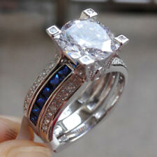 Round Blue White CZ 925 Sterling Silver Wedding Band Engagement Ring Set Sz 5-12