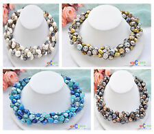 "D0031 4row 19"" 14mm baroque freshwater pearl agate bead necklace"