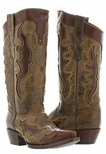 Womens Brown Gold Studded Western Leather Cowboy Cowgirl Rodeo Boots Riding New