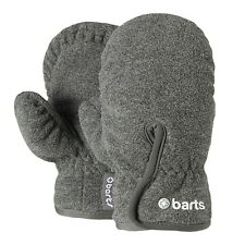 Barts Fleece Infants Gloves Boys Girls Mittens with Cord Velcro grey