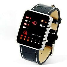Fashion Cool Mens Digital LED Sport Wrist Watch PU Leather Binary Wristwatch HOT