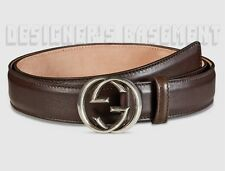 GUCCI smooth brown Leather Palladium INTERLOCKING G buckle belt NWT Authent $290