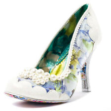Irregular Choice Pearly Girly Womens Fabric White Floral Shoes Heels
