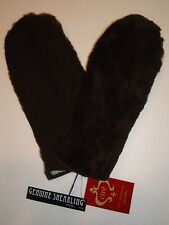 Cire SHEARLING /Sheepskin Leather Mittens, Chocolate/Brown
