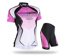 Women's Racing Team Bike Bicycle Short Sleeves Jersey 3D Padded Shorts Set Suit