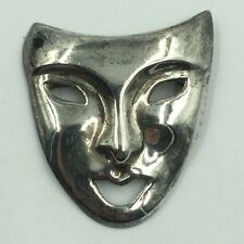 """Vintage Sterling Silver 925 Theatre Drama Mask Pendant/Pin Signed """"IN 925"""""""