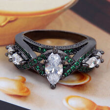 1Pc Beautiful Woman Oval White Crystal Ring Black Gold Silver Ring Size 7 8 9