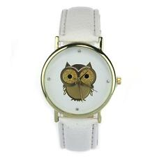 Unisex Gold Plated Owl Watch PU Leather Strap Imitation Diamond Hour Markers SP