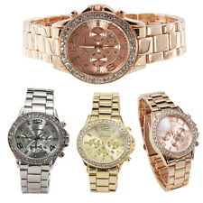 Geneva Date Quartz Wrist Watch Women Luxury Crystal Stainless Steel Ladies Watch