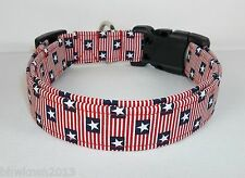 Red White Blue USA FLAG Dog Collar hand made Adjustable 4TH JULY charming fabric