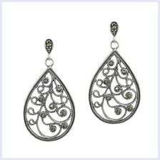 Sterling Silver Marcasite Flower Vine Leaf Filigree Teardrop Dangle Stud Earring