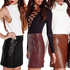 Solid Color Mini Skirts Sexy Women Skirt PU Leather Bodycon Short Mini Skirt