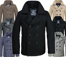 Brandit Men's Wool Coat Pea Coat Winter Jacket Parka Caban Jacket Marine Jacket