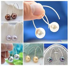 D0073 concise 14mm round shell pearl dangle earring Standard silver
