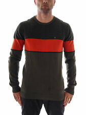 Hurley Knitted Jumper Knit Crew Neck Crew Neck green striped