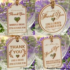 Mini Personalised White Wooden Engraved Wedding Favour Gift Tags/Thank You Tags
