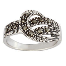 Silverly .925 Sterling Silver Marcasite Curl Art Deco Style Ring