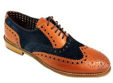 London Brogues Gatsby Men's Tan & Navy Blue Two Tone Lace Up Leather Brogues New