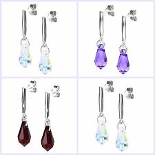 Swarovski Elements Crystal Teardrop 925 Sterling Silver Dangle Stud Post Earring