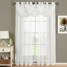 Abri White Grommet Crushed Sheer Curtain Panel 100% Polyester