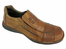 Rieker 08450-25 Men's Brown Easy Slip On Elasticated Leather Loafers Shoes New