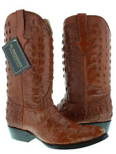 mens cognac brown full alligator real leather exotic western cowboy rodeo boots