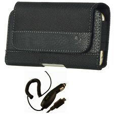 New Car Charger and Black Belt Clip Holster Pouch Carrying Case for Cell Phones