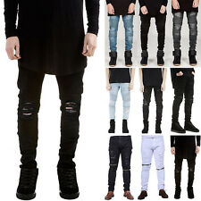 Mens Tapered Slim Denim Jeans Straight Ripped Distressed Pants Casual Trousers