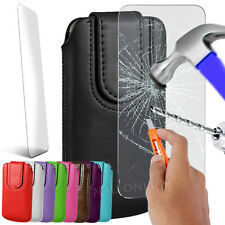 Magnetic PU Leather Pull Tab Flip Case Cover Pouch & Tempered Glass for Mobiles