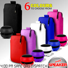 LEATHER PULL TAB POUCH SKIN CASE COVER & MINI SPEAKER FOR VARIOUS HUAWEI PHONES