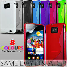 S LINE WAVE GEL SKIN CASE COVER & SCREEN GUARD FOR SAMSUNG i9100 GALAXY S2