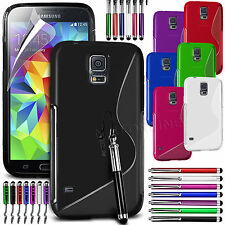 S Line Wave Gel Skin Case Cover, Film & 3 Stylus Pen Set For Samsung Galaxy S5