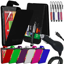 Leather Flip Case Cover, LCD Film, Pen & In Car Charger For Motorola Moto G