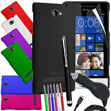 HARD BACK SKIN CASE COVER, LCD FILM, PEN & CAR CHARGER FOR HTC WINDOWS PHONE 8S