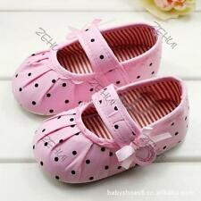 Lovely 2PCS Baby Girl Kids Pink Polka Dot Soft Sole Crib Shoes Prewalker Shoes